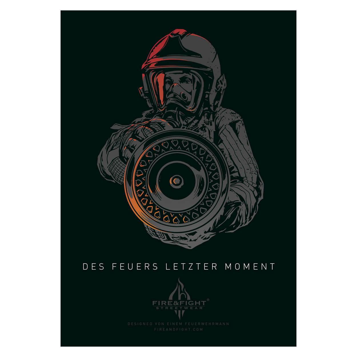 Des Feuers letzter Moment - Feuerwehrposter 100 x 70 cm