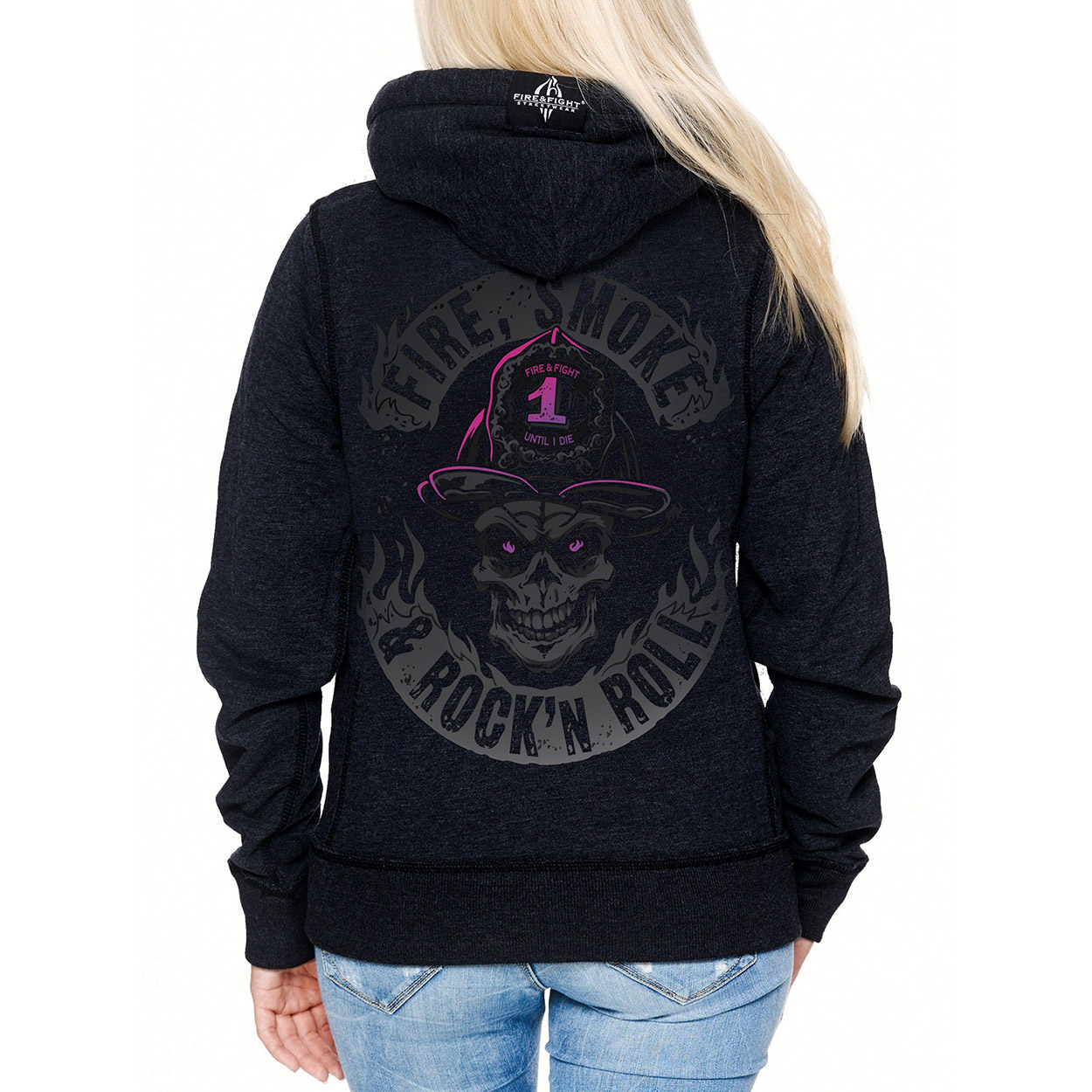 Dark Fire Smoke & Rock´n Roll - Frauen Kapuzenjacke schwarz