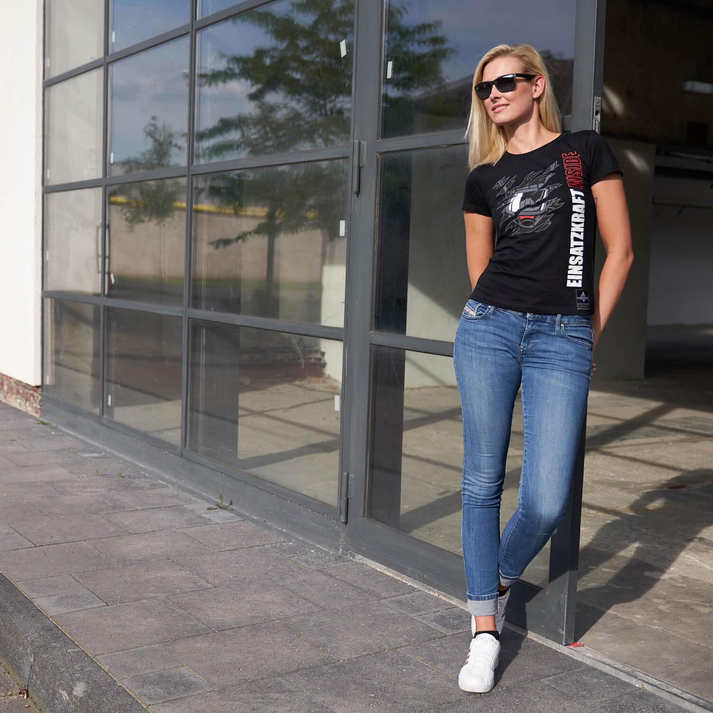 Einsatzkraft® Inside - Feuerwehrfrauen T-Shirt schwarz