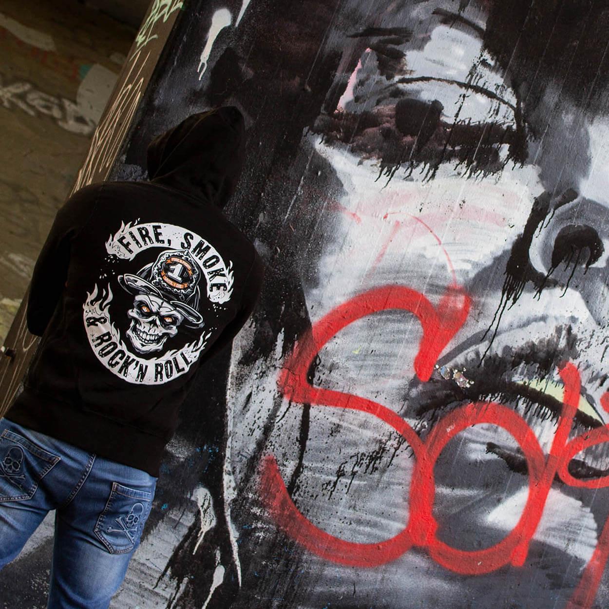 Fire Smoke & Rock´n Roll - Kapuzenjacke Männer schwarz
