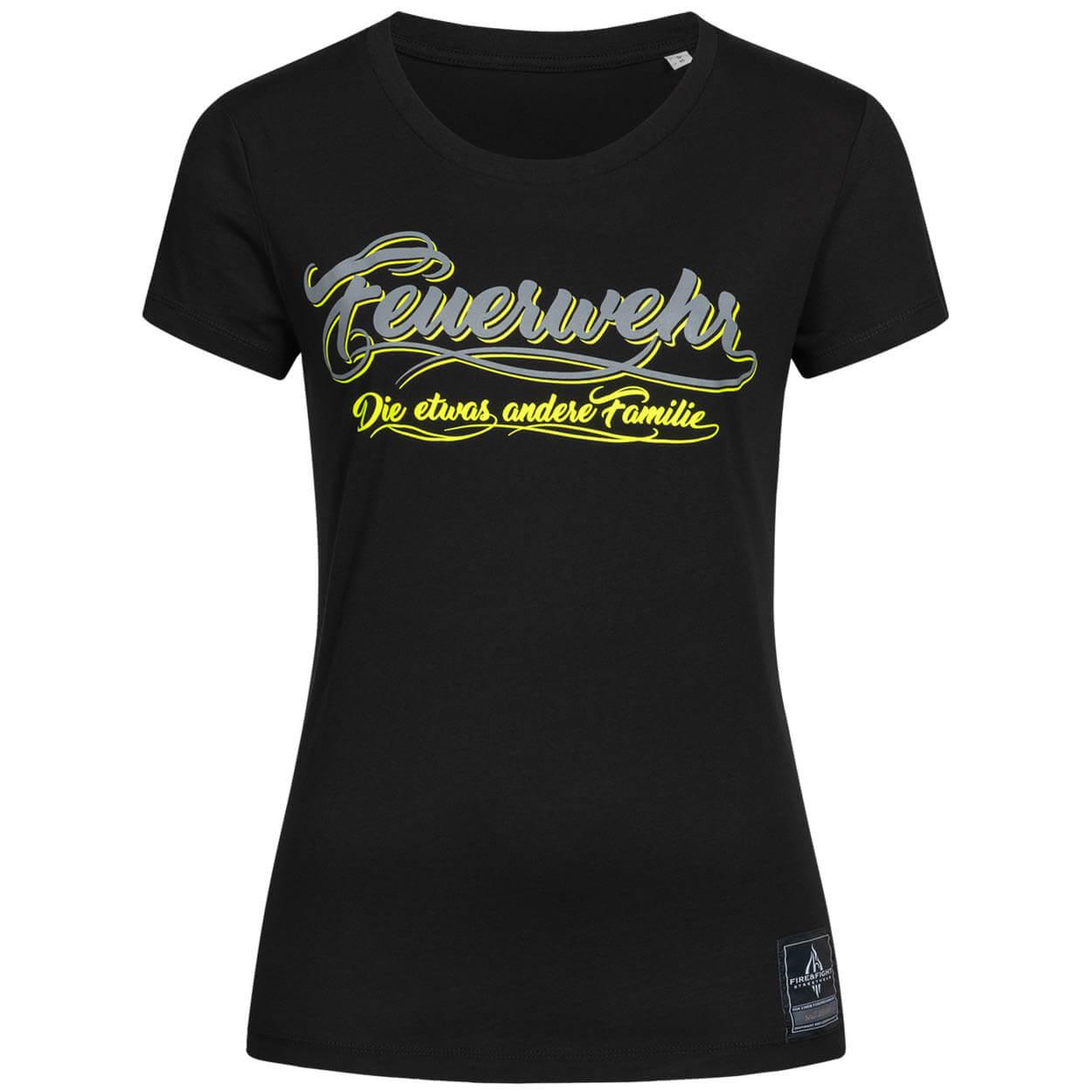 Feuerwehr, die etwas andere Familie - Frauen T-Shirt schwarz gelb