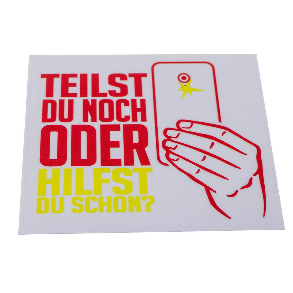 HILFST DU SCHON Aufkleber rot/gelb