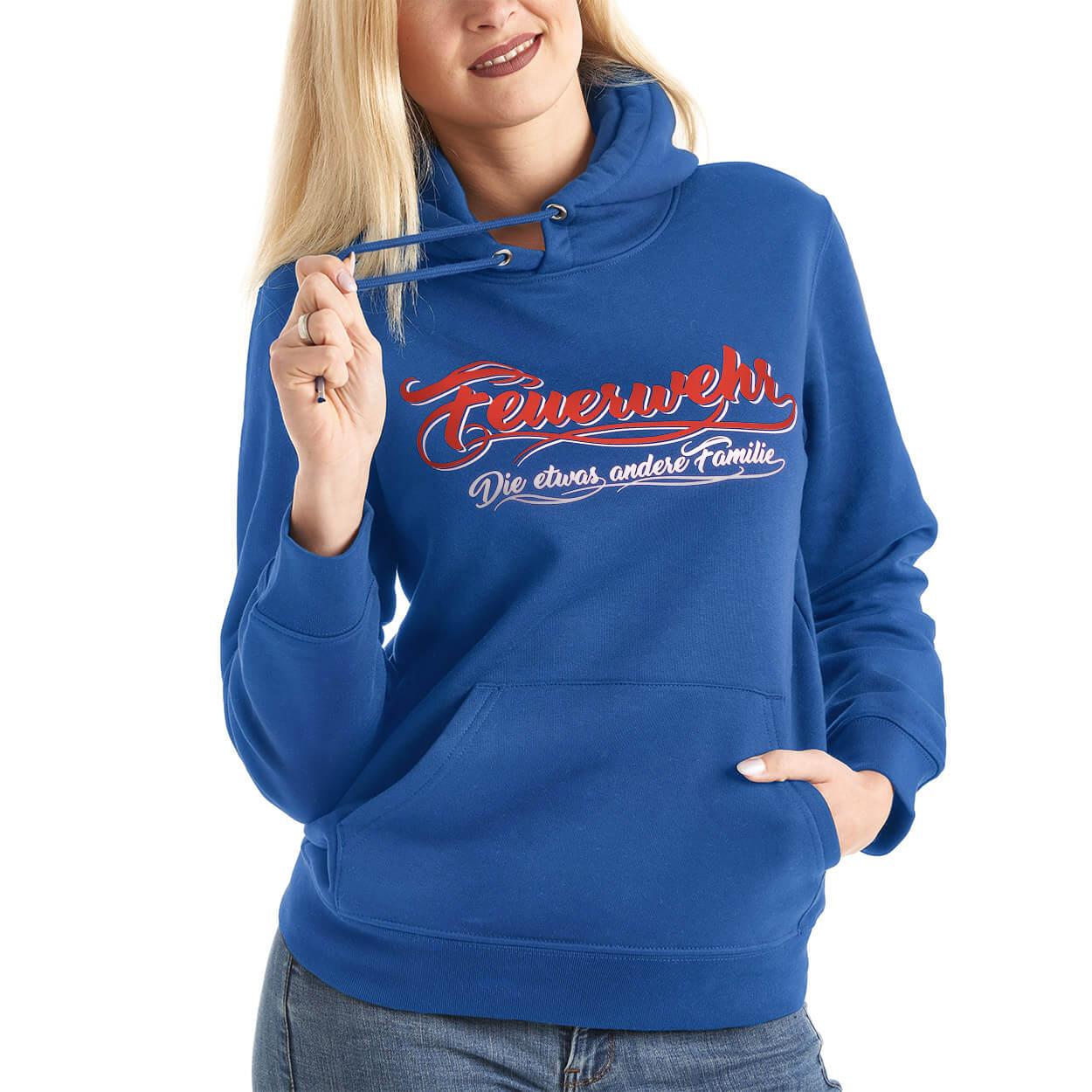 Feuerwehrfamilie Frauen-Kapuzensweater Farbe blau