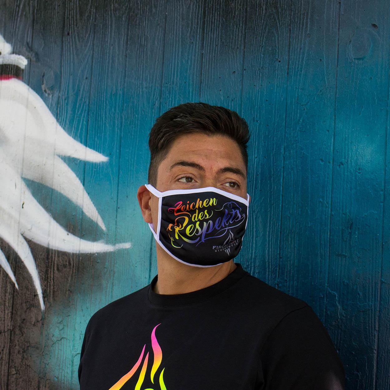 Zeichen des Respekts Mund-Nasen-Schutz