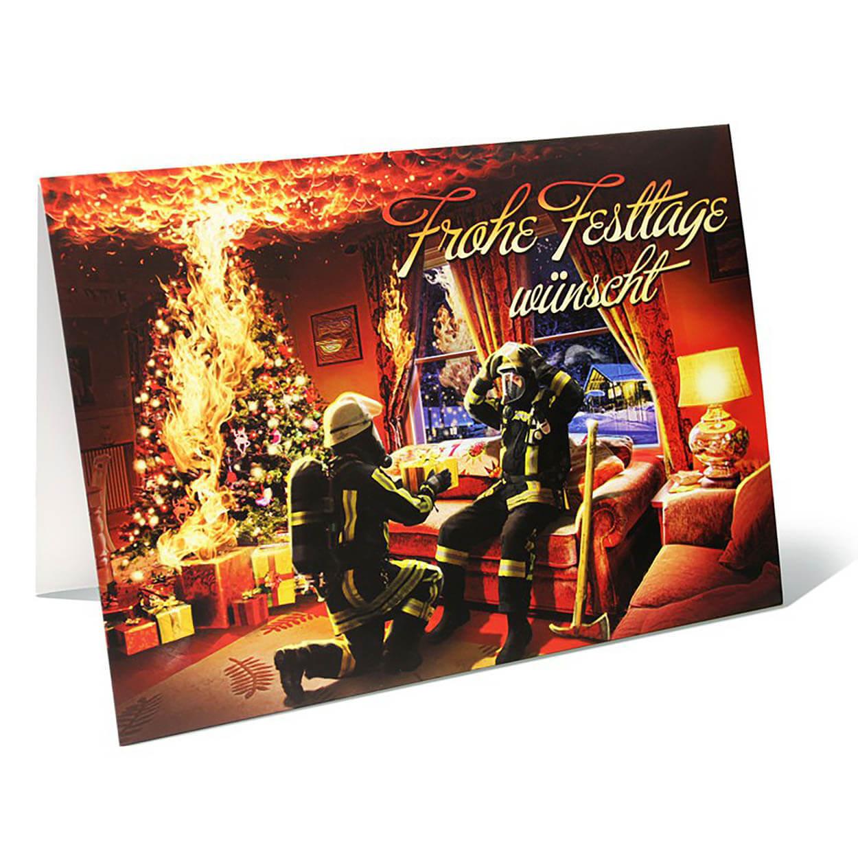 Große Feuerwehr Weihnachtskarte mit Umschlag