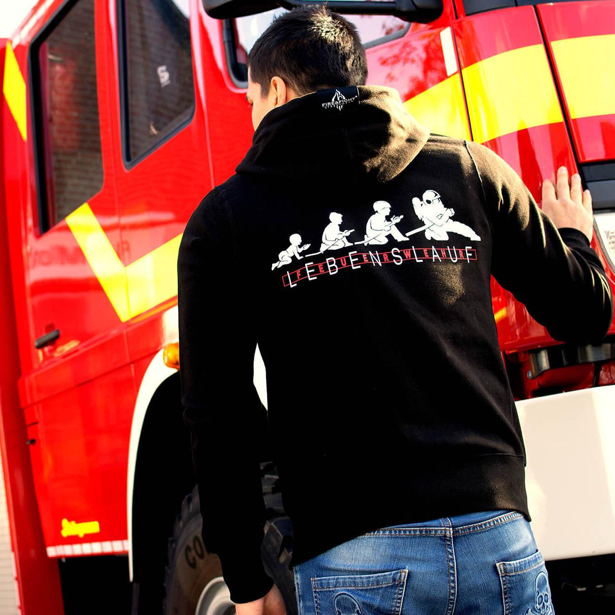 Feuerwehr Lebenslauf Kapuzenjacke Männer schwarz