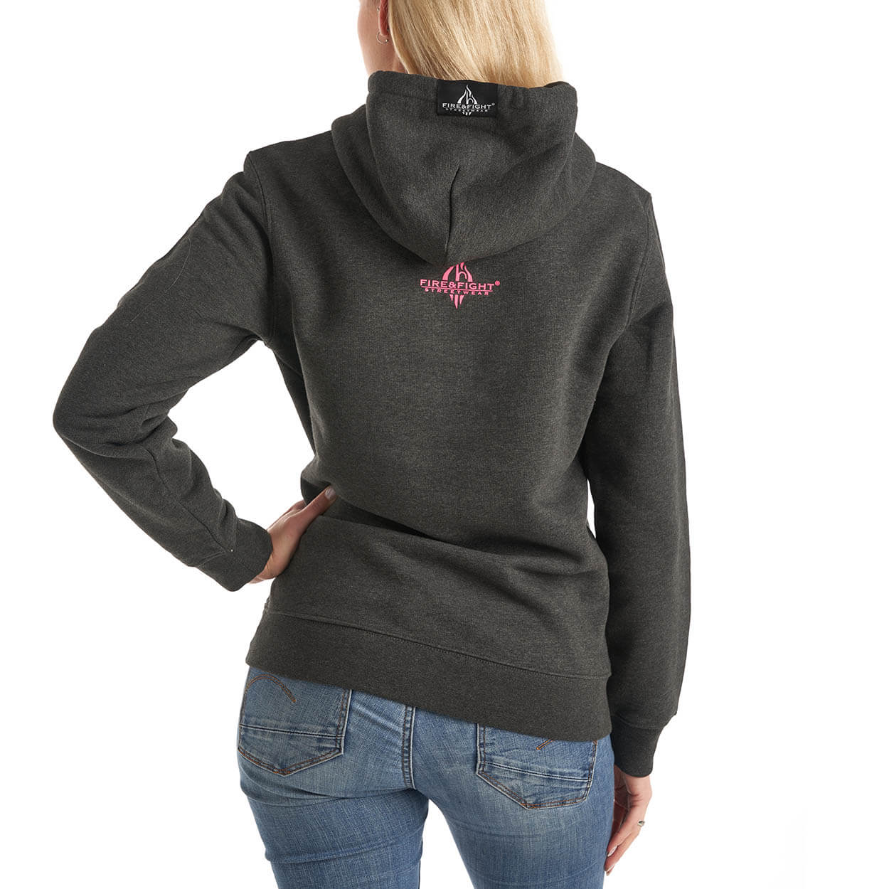 Feuerwehrfamilie Frauen-Kapuzensweater grau meliert