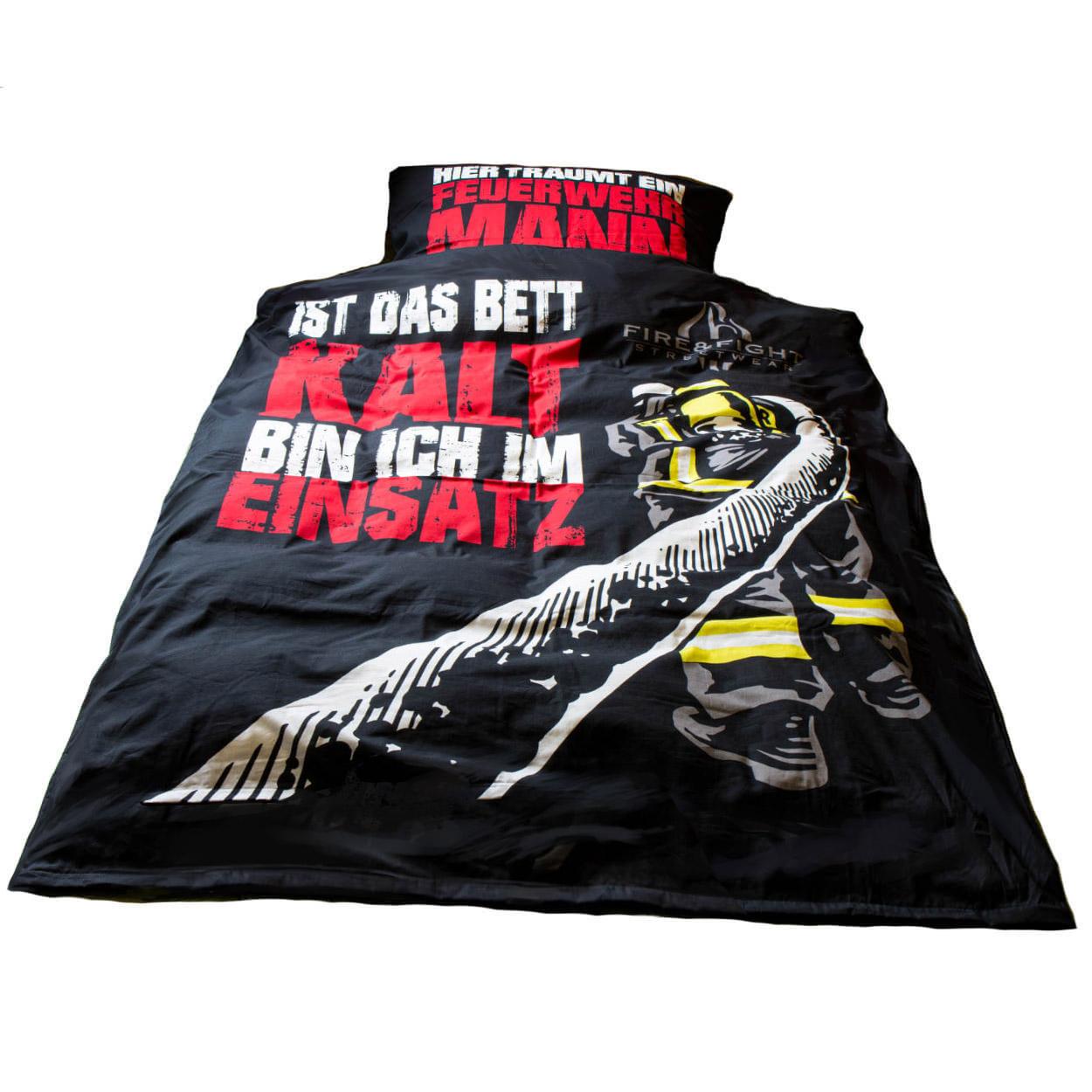 Hier träumt ein Feuerwehrmann - Bettwäsche Set