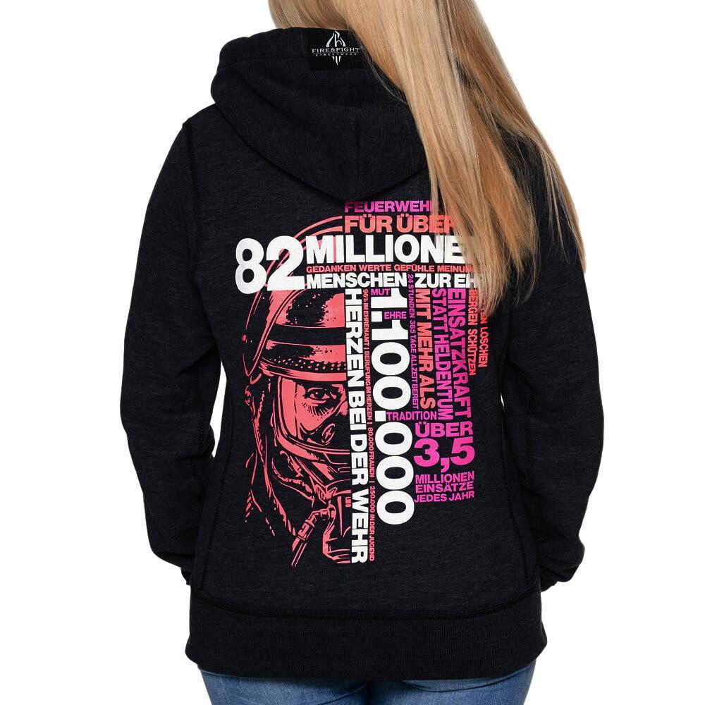 82 Millionen Design - Kapuzenjacke Frauen schwarz