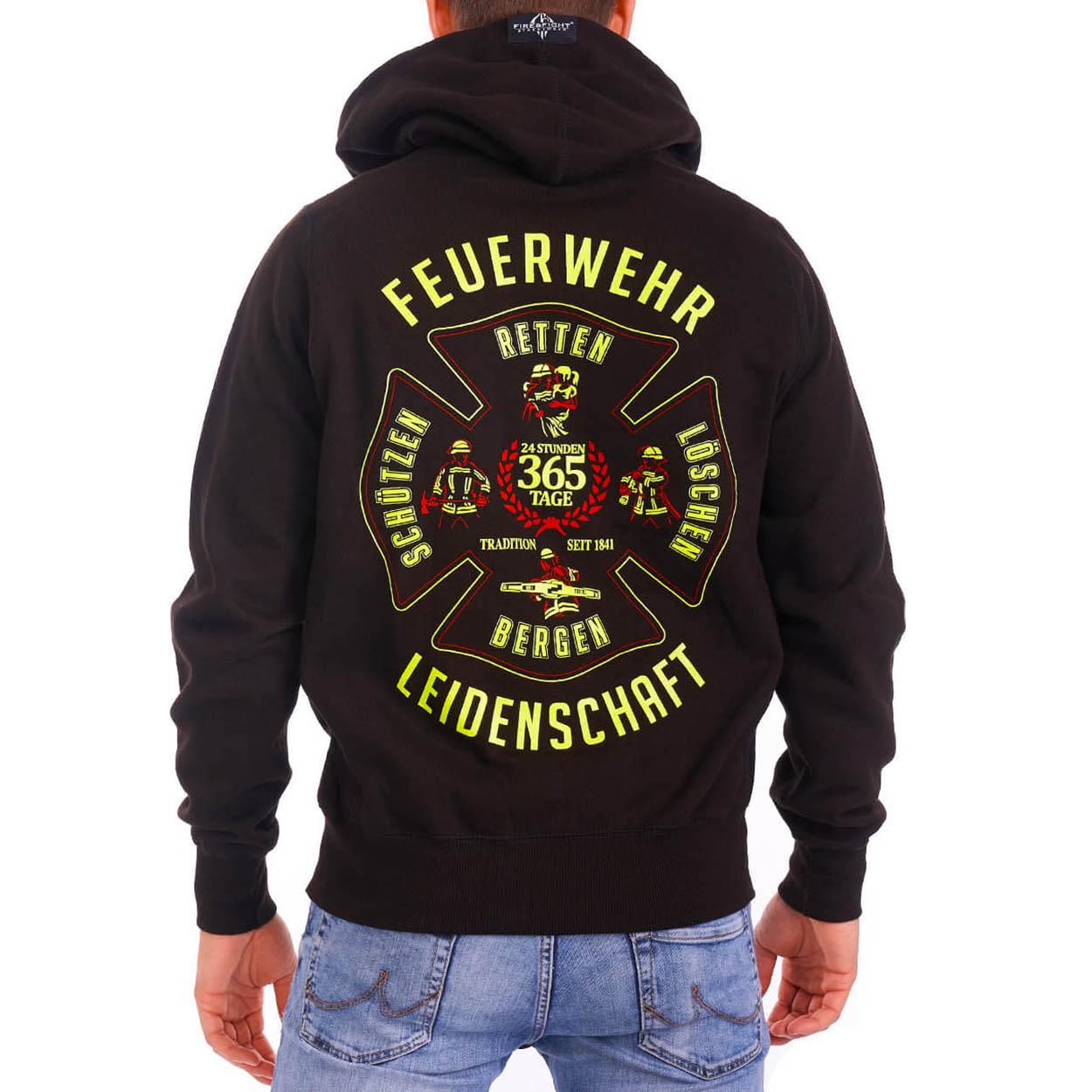 Leidenschaft Feuerwehr - Männer Kapuzenjacke schwarz